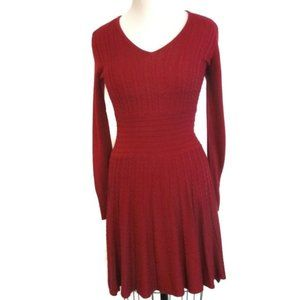 Vince Camuto Red Knit Fit & Flare Dress Small